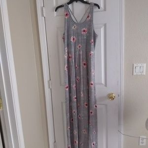 Gray and pink floral maxi dress
